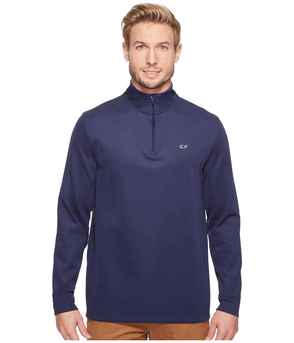 Vineyard Vines Golf - Buff Bay 1/4 Zip Performance Shirt (Night Bay) Men's Clothing