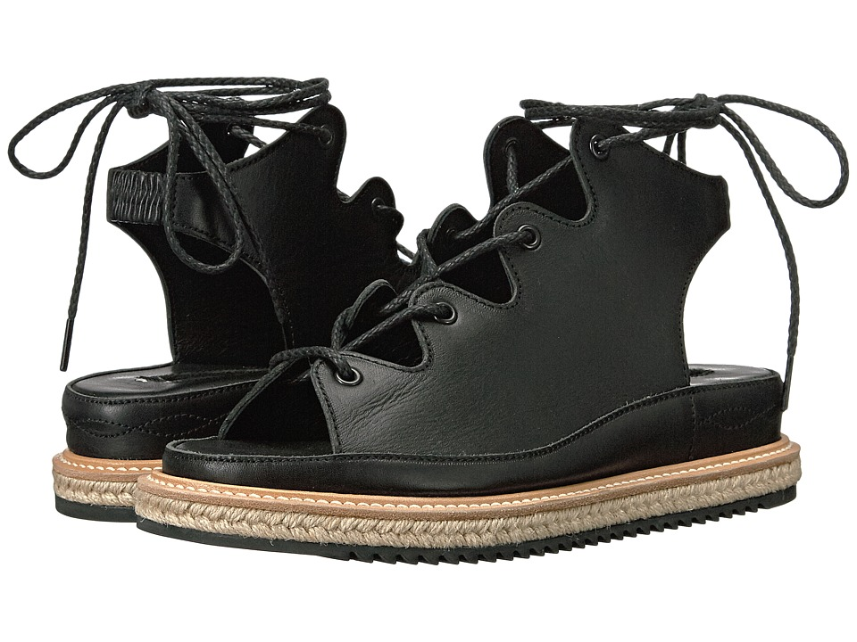 Y's by Yohji Yamamoto - Light Lace-Up Sandal (Black) Women's Sandals