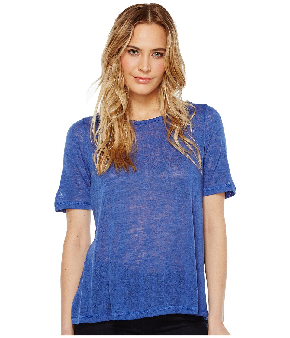 Nally & Millie - Pleated Back Elbow Sleeve Top (Blue) Women's Clothing