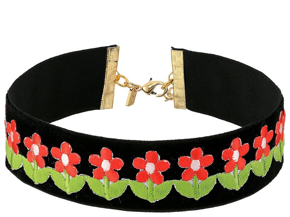 Vanessa Mooney - The Flower Power Choker Necklace (Black) Necklace