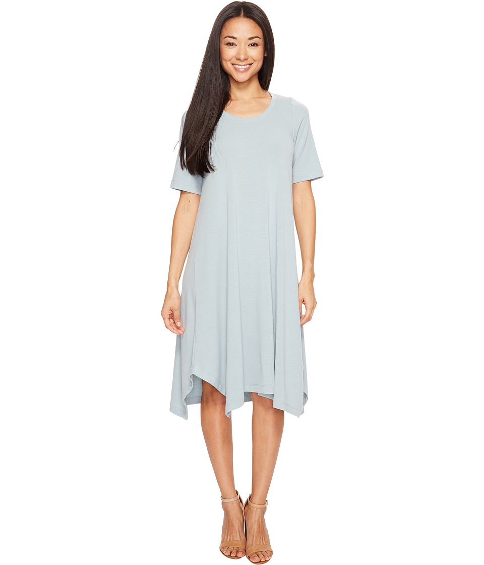 Nally & Millie - French Terry Shark Bite Midi Dress (Silver/Blue) Women's Dress