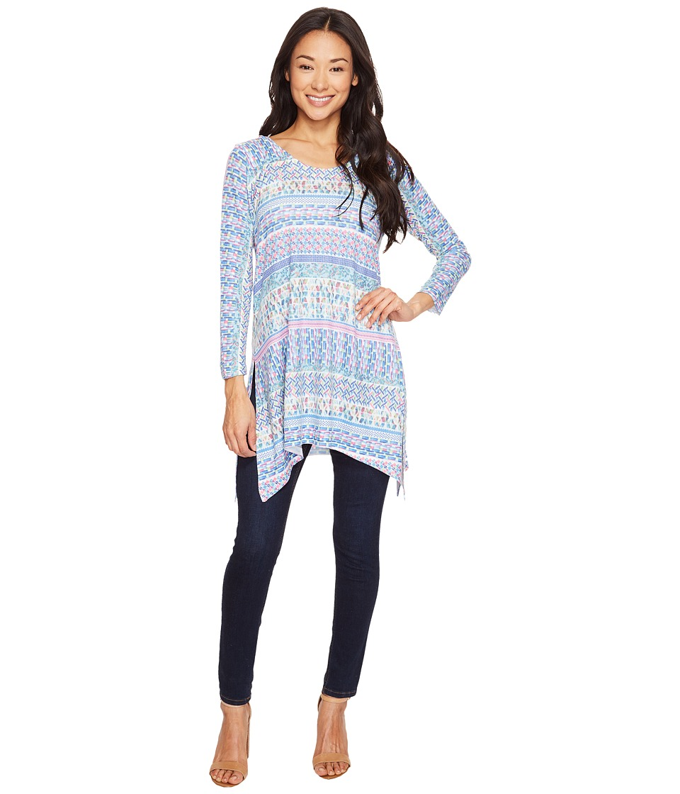 Nally & Millie - Printed Tile Stripes Three-Quarter Sleeve Tunic (Multicolor) Women's Clothing