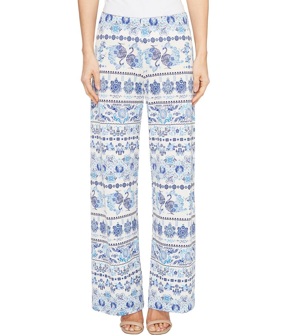 Nally & Millie Printed Blue Border Pants (Multicolor) Women's Casual Pants
