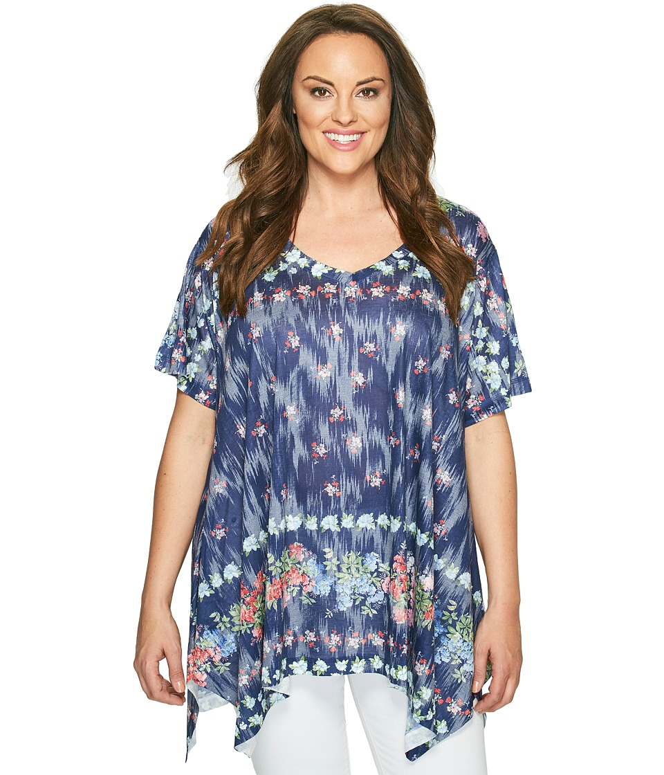Nally & Millie - Plus Size Printed Floral Tunic (Multicolor) Women's Clothing