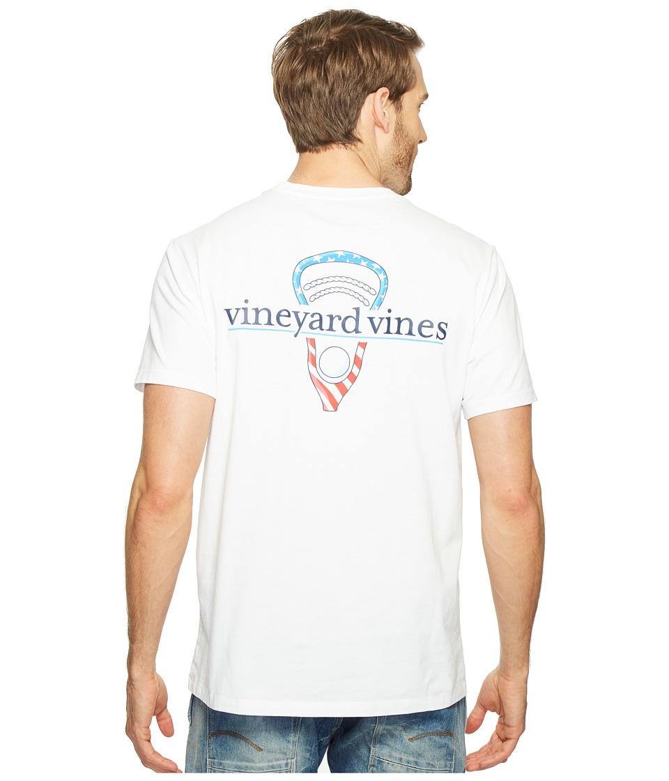 Vineyard Vines - Short Sleeve Stars Stripes Lax Head T-Shirt (White Cap) Men's T Shirt