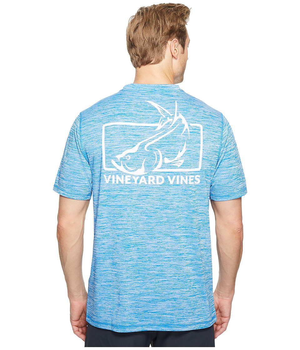 Vineyard Vines - Short Sleeve Performance Space Dye Tarpon T-Shirt (Azure Blue) Men's T Shirt