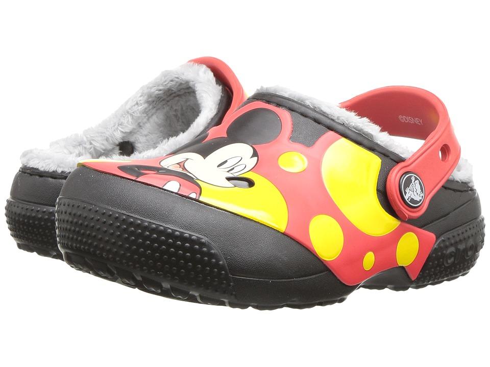Crocs Kids - FunLab Lined Mickey Clog (Toddler/Little Kid) (Black) Kids Shoes