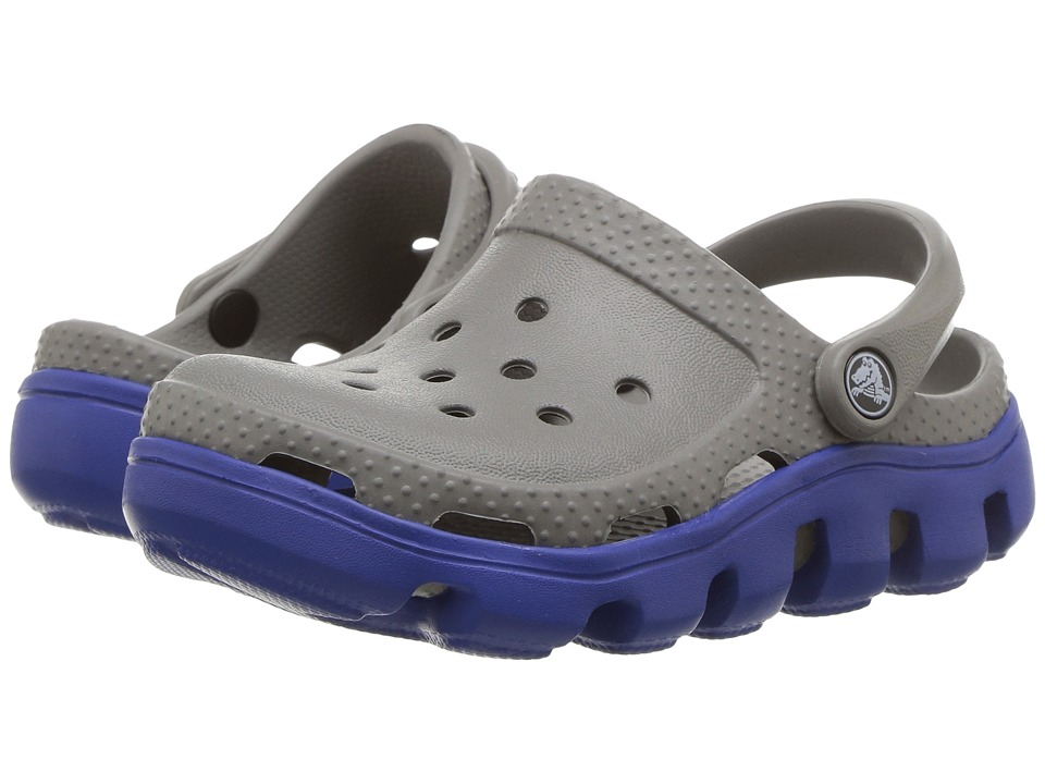 Crocs Kids - Duet Sport Clog (Toddler/Little Kid) (Smoke/Cerulean Blue) Kids Shoes
