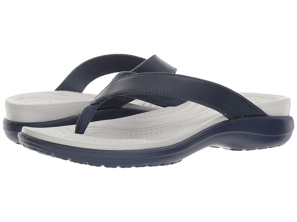 Crocs - Capri V Flip (Navy/Pearl White) Women's Sandals