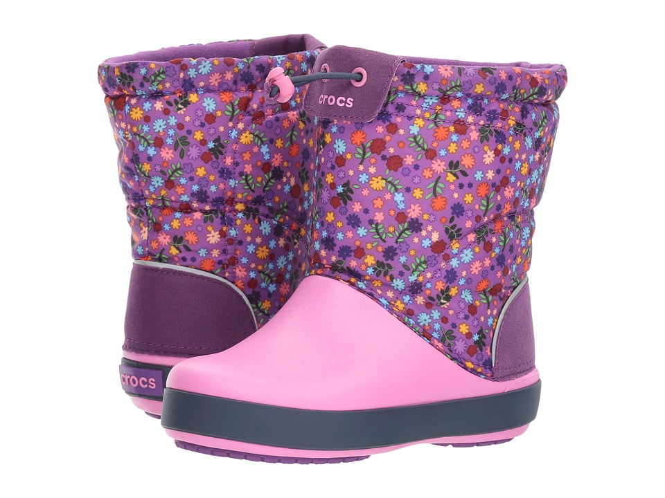 Crocs Kids Crocband Lodgepoint Graphic Boot (Toddler/Little Kid) (Amethyst/Party Pink) Girls Shoes