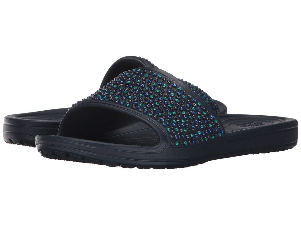 Crocs - Sloane Embellished Slide (Navy/Turquoise) Women's Slide Shoes