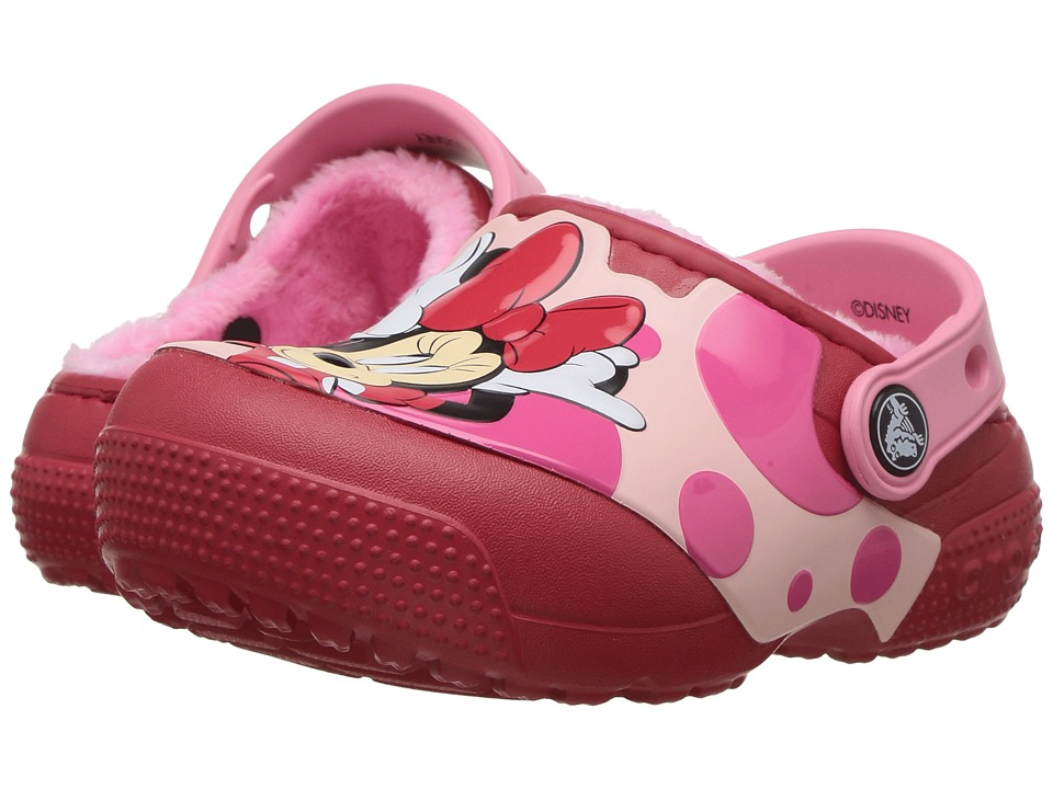 Crocs Kids - FunLab Lined Minnie Clog (Toddler/Little Kid) (True Red) Girls Shoes