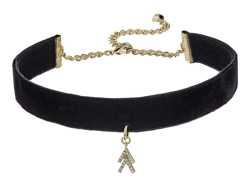 Rebecca Minkoff - Velvet Choker with Arrow (Black/Gold) Necklace