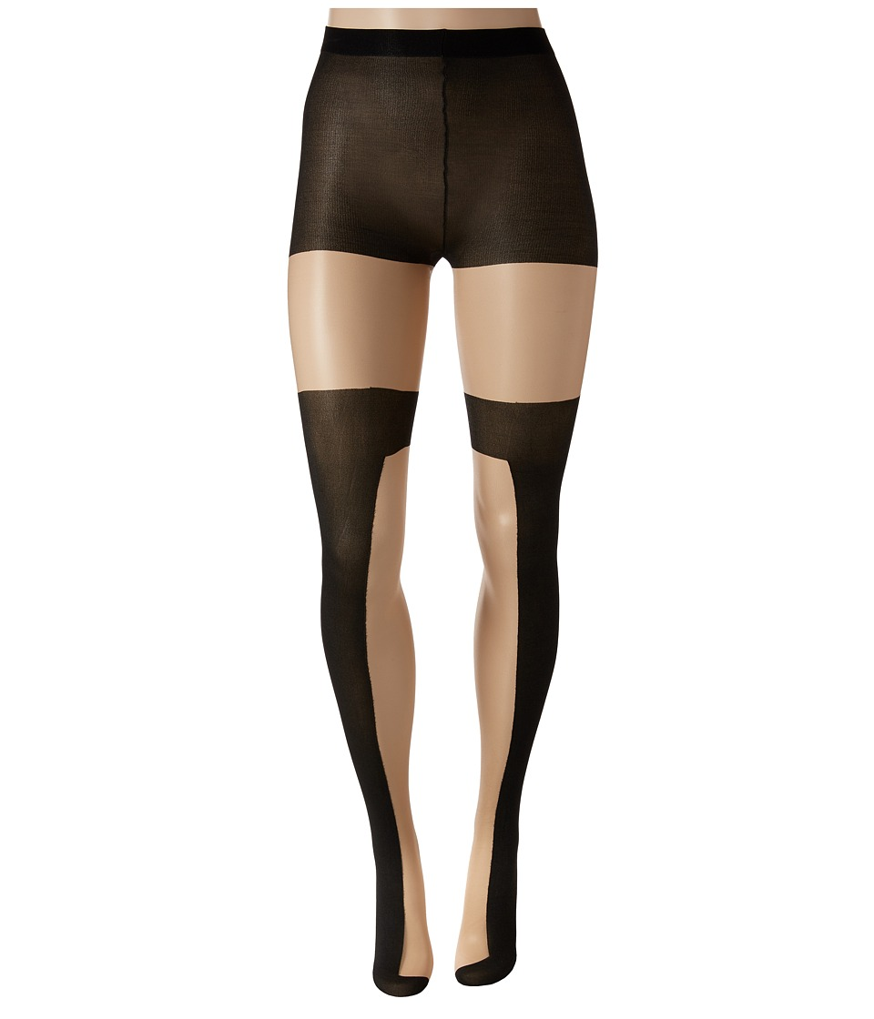 Pretty Polly - Color Block Opaque Sheer Tights (Nude/Black) Hose