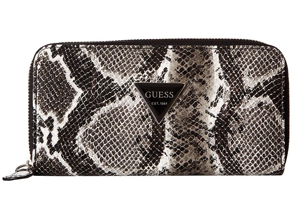 GUESS - Abree SLG Medium Zip Around (Black) Handbags