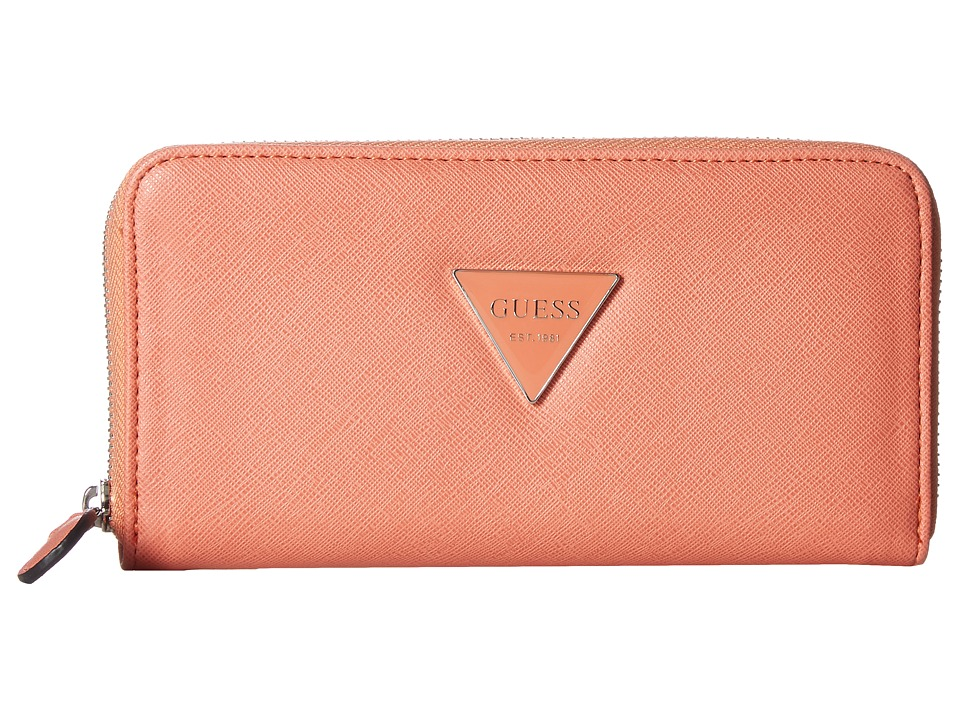 GUESS - Abree SLG Medium Zip Around (Coral) Handbags