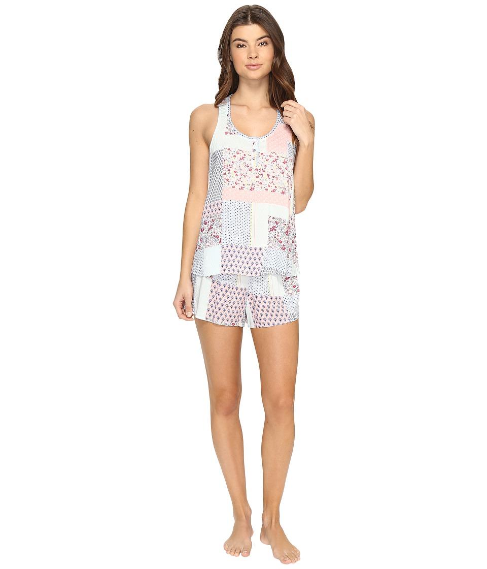 Jane amp Bleecker Woven PJ Shorty Set 3511302 Varsity Patchwork Womens Pajama Sets