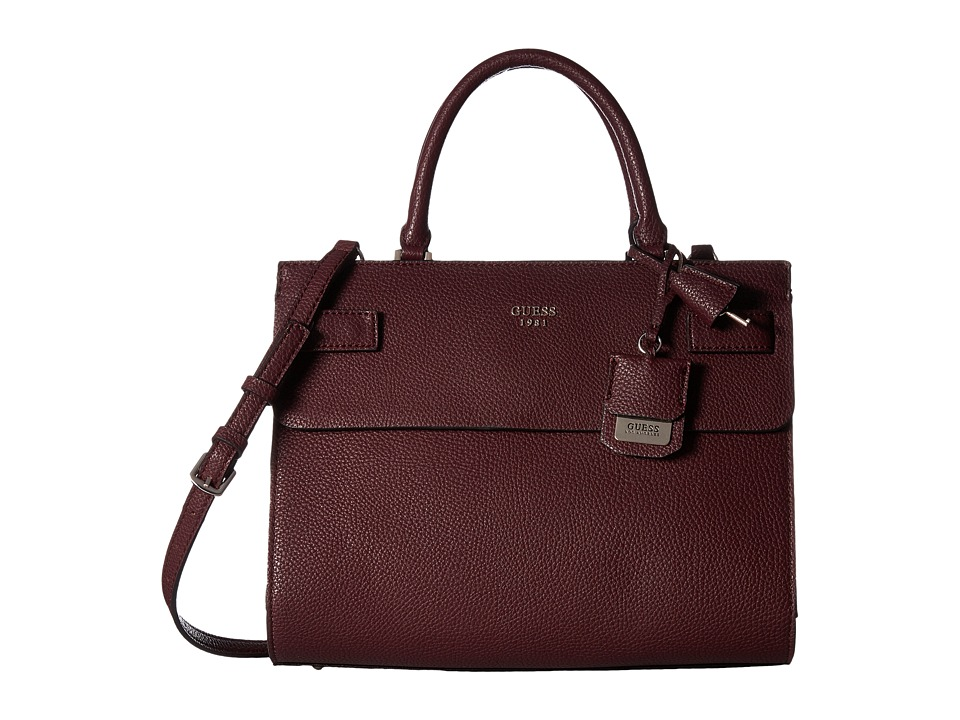 GUESS - Cate Satchel (Bordeaux) Satchel Handbags