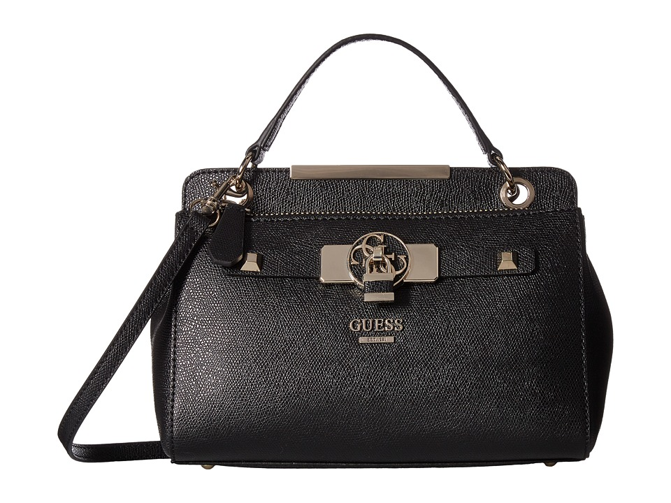GUESS - Cynthia Small Satchel (Black) Satchel Handbags