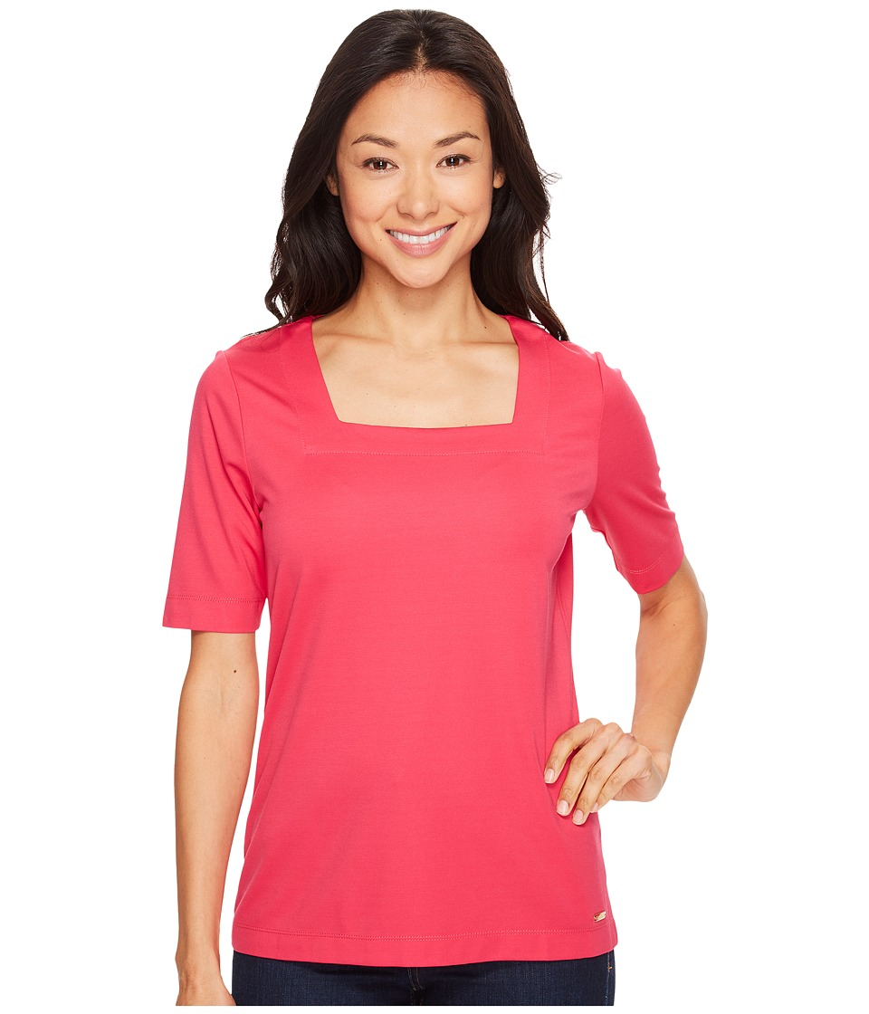 Calvin Klein - Elbow Sleeve with Square Neck Top (Spring Rose 1) Women's Clothing