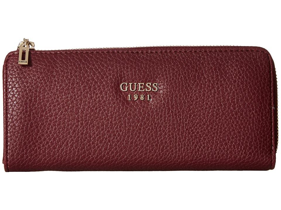GUESS - Cate SLG Slim Zip Wallet (Bordeaux) Wallet Handbags