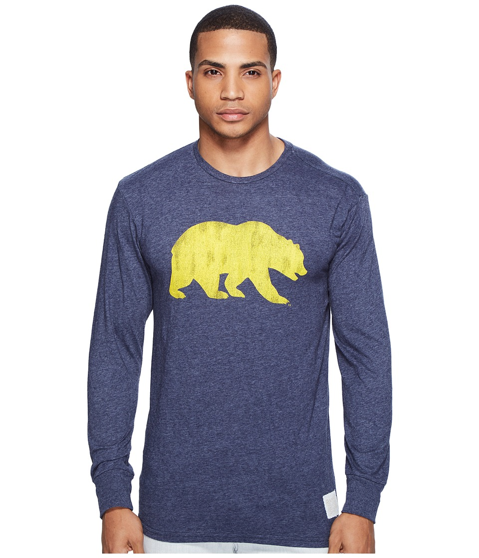The Original Retro Brand - Cal Bear Long Sleeve Tri-Blend Tee (Streaky Navy) Men's T Shirt