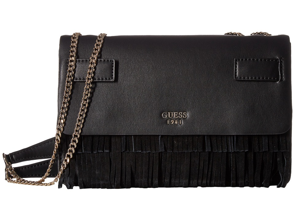 GUESS - Cate Convertible Crossbody Flap (Black) Cross Body Handbags