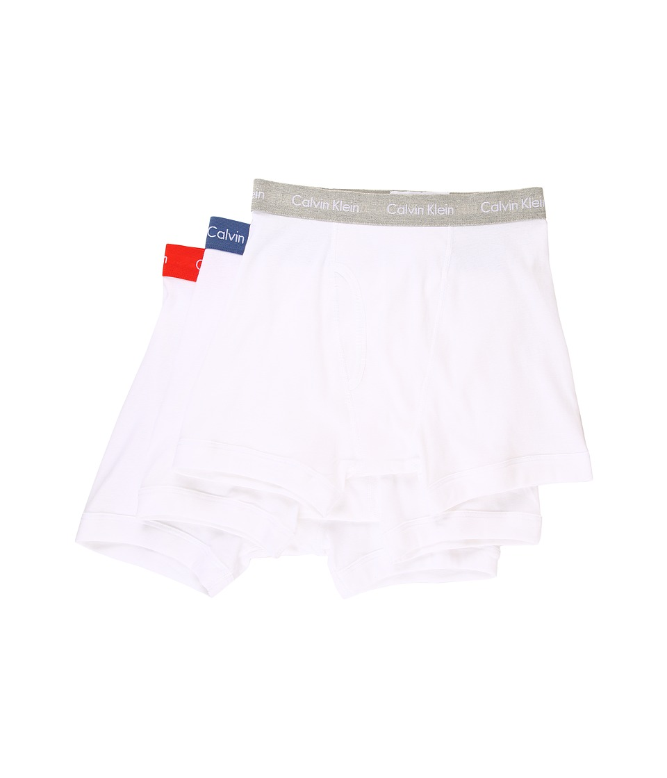 Calvin Klein Underwear - Cotton Classic Boxer Brief 3-Pack NU3019 (White w/ Victorian Blue Waistband/White w/ Orange Rouge Waistban) Men's Underwear
