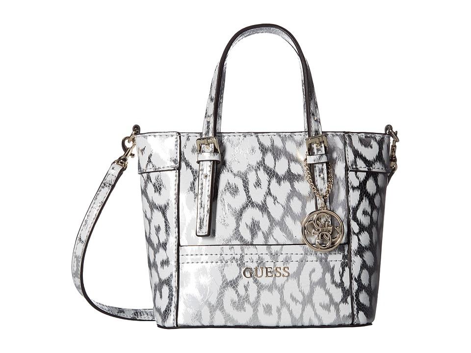 GUESS - Delaney Petite Tote (Silver Leopard) Tote Handbags