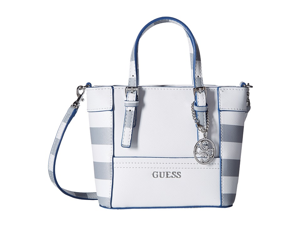 GUESS - Delaney Petite Tote (White Multi) Tote Handbags