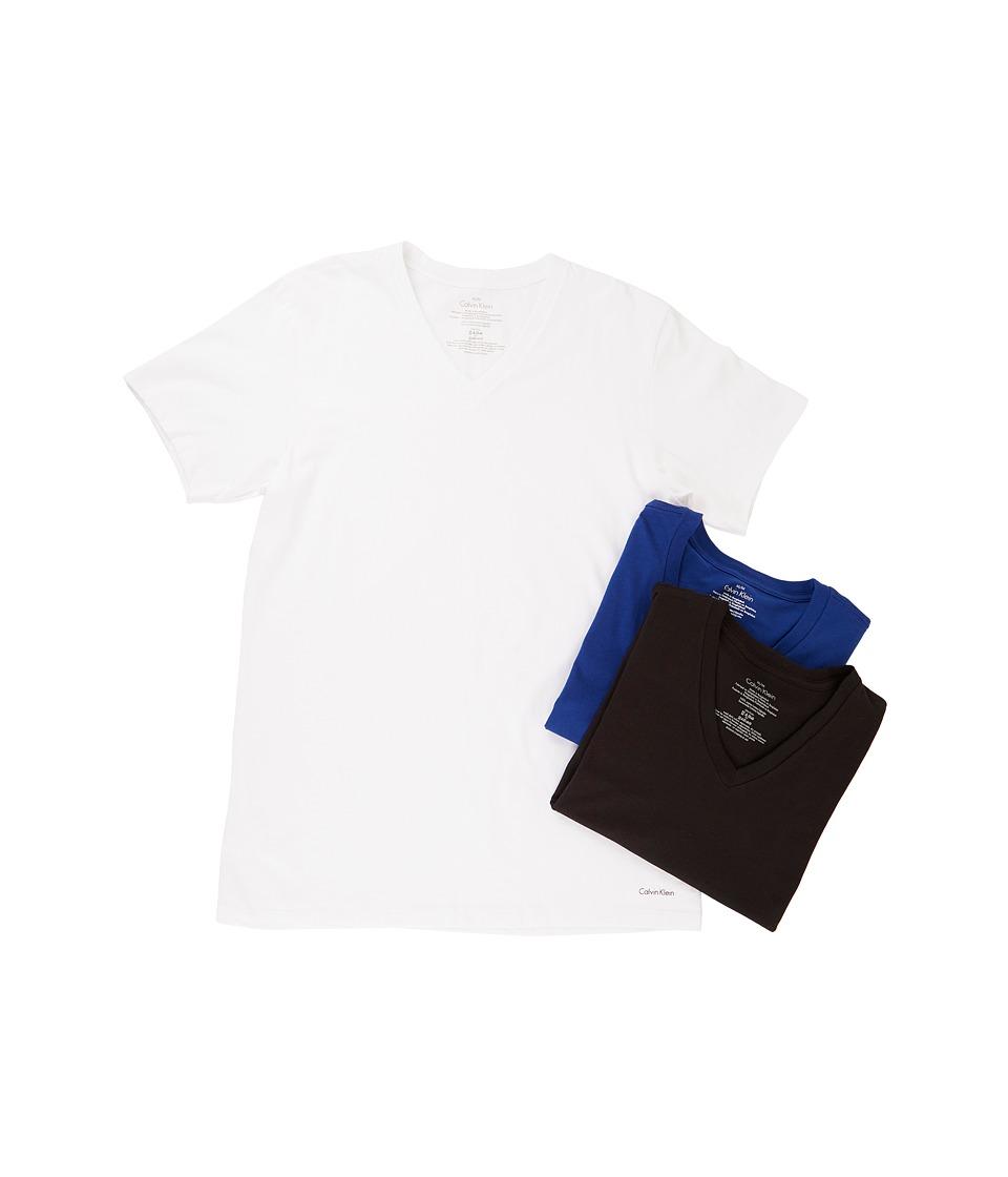 Calvin Klein Underwear - Cotton Classic S/S V-Neck 3-Pack M4065 (White/Black/Dark Midnight) Men's Underwear