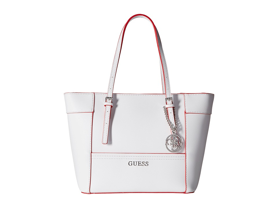 GUESS - Delaney Small Classic Tote (White Multi) Tote Handbags
