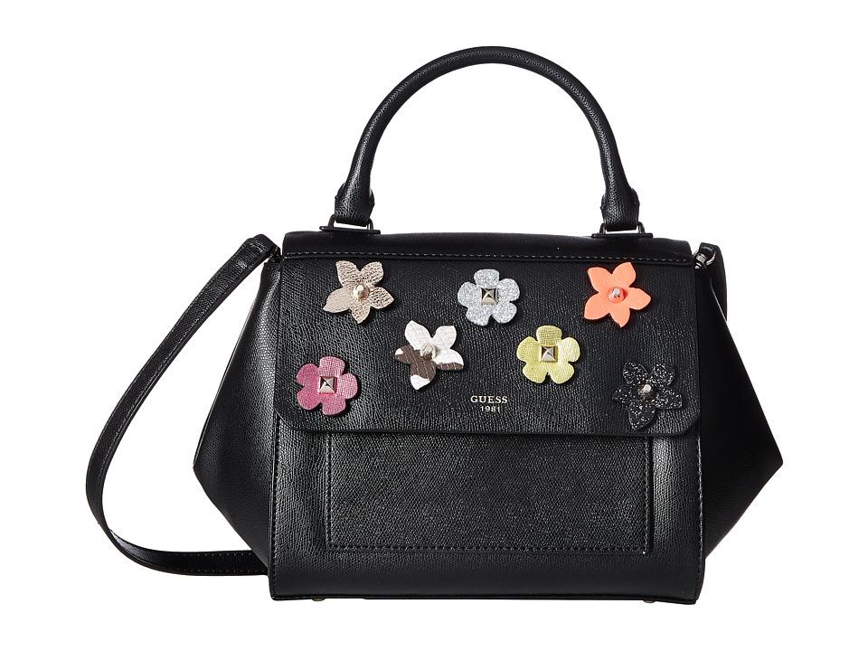 GUESS - Evette Top Handle Flap (Black Floral) Handbags