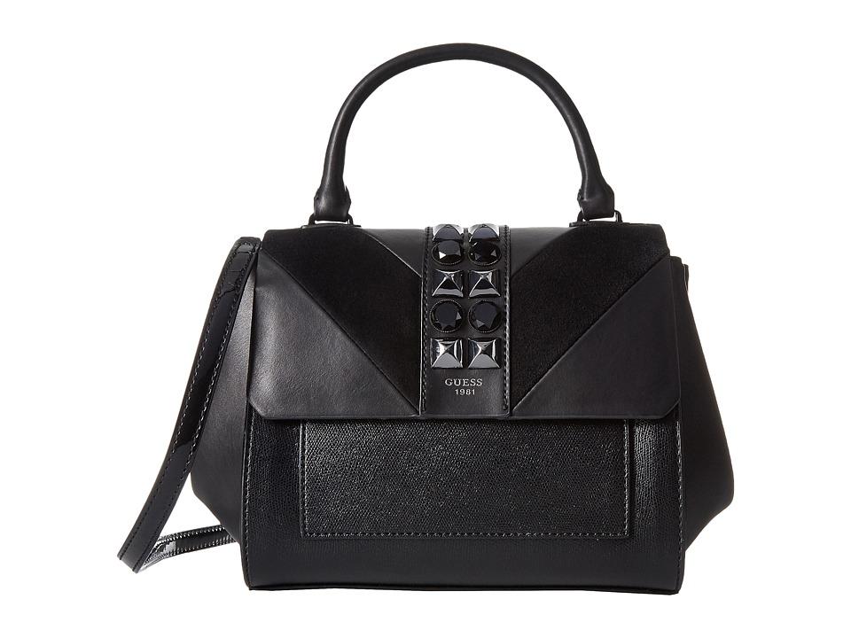 GUESS - Evette Top Handle Flap (Black) Handbags