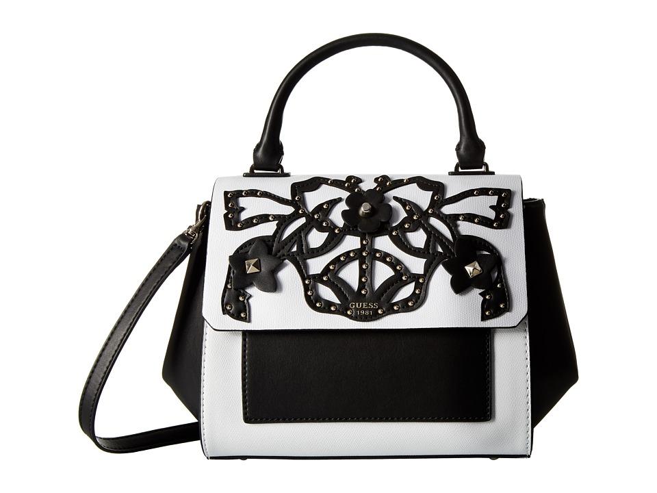 GUESS - Evette Top Handle Flap (White Floral) Handbags