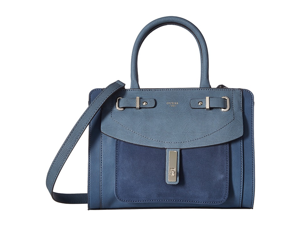 GUESS - Kingsley Small Satchel (Blue) Satchel Handbags