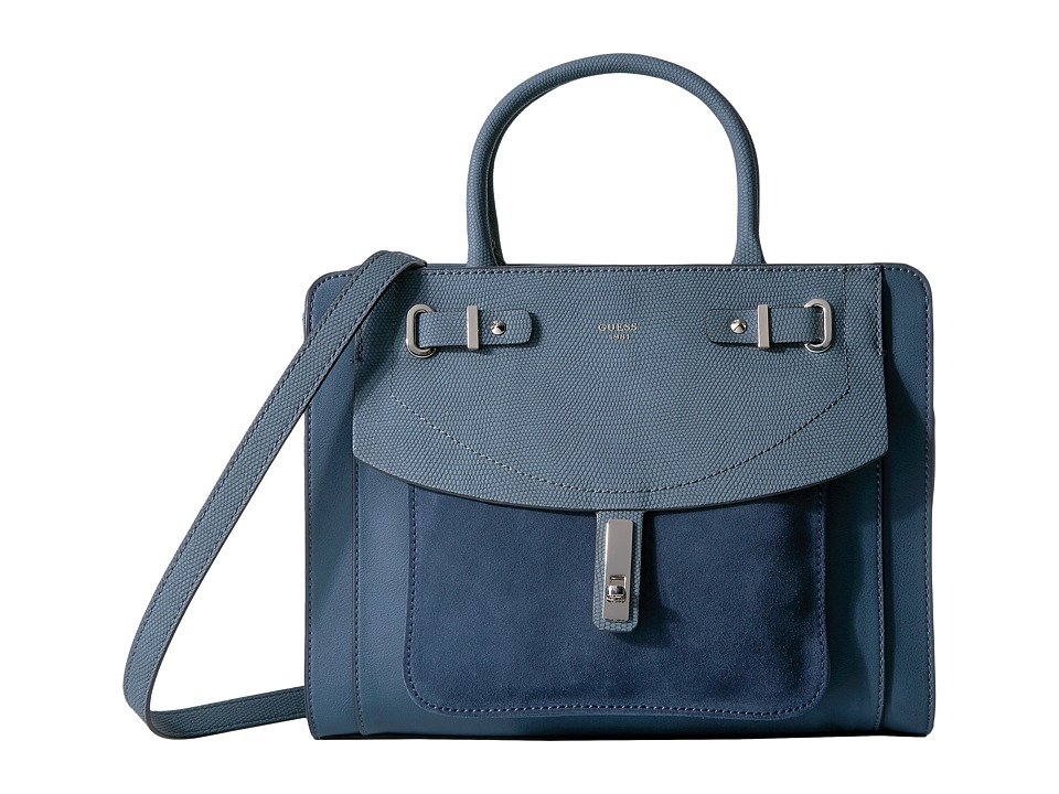 GUESS - Kingsley Girlfriend Satchel (Blue) Satchel Handbags