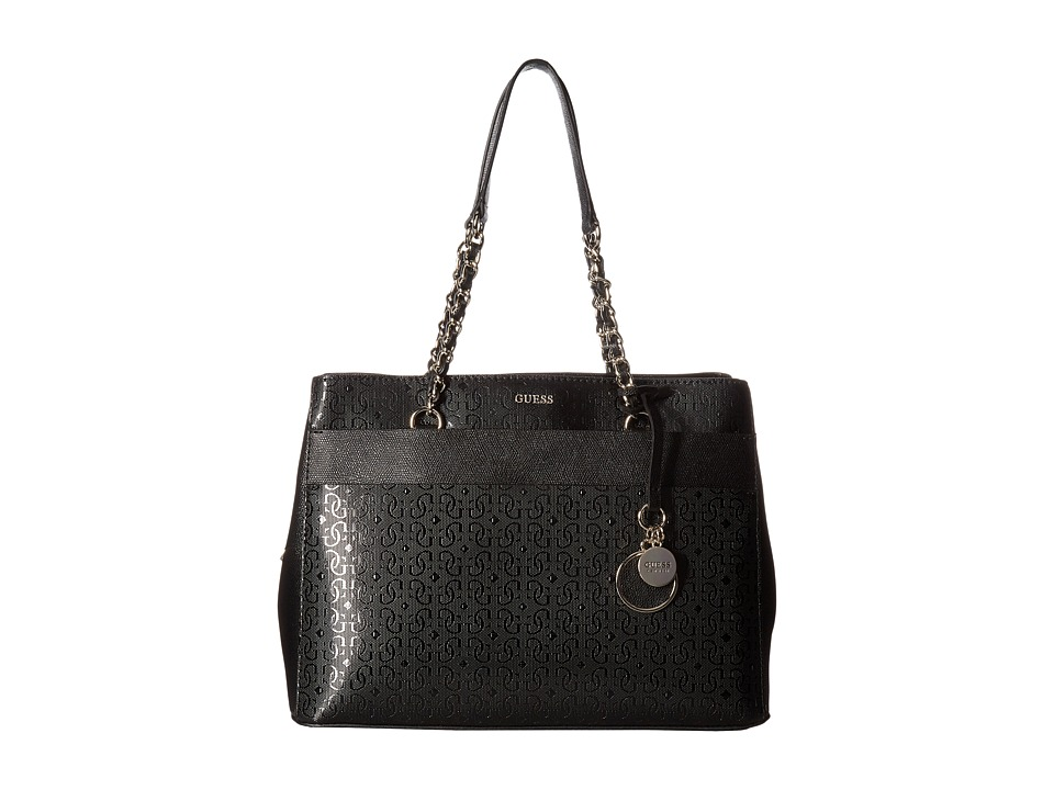 GUESS - Janette Girlfriend Satchel (Black) Satchel Handbags