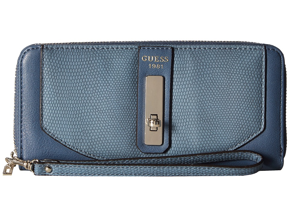 GUESS - Kingsley SLG Large Zip Around (Blue) Handbags