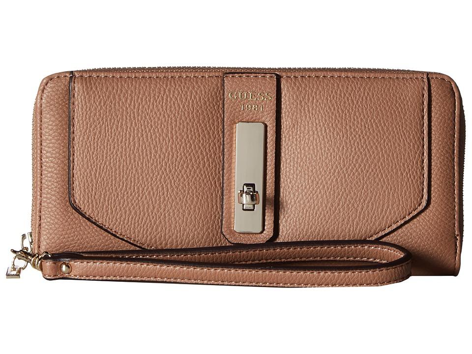 GUESS - Kingsley SLG Large Zip Around (Latte) Handbags