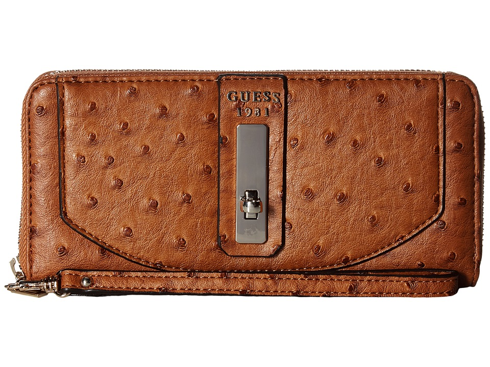 GUESS - Kingsley SLG Large Zip Around (Cognac) Handbags