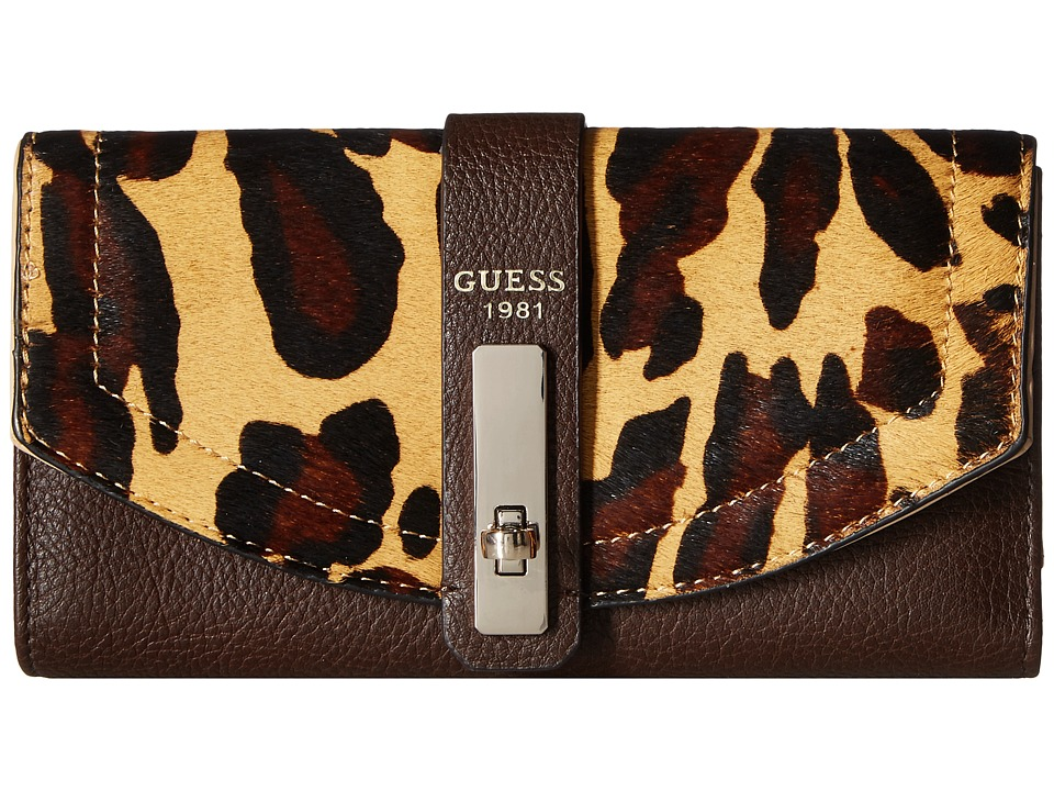 GUESS - Kingsley SLG Multi Clutch (Brown Leopard) Clutch Handbags
