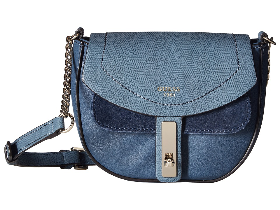 GUESS - Kingsley Petite Crossbody Flap (Blue) Cross Body Handbags