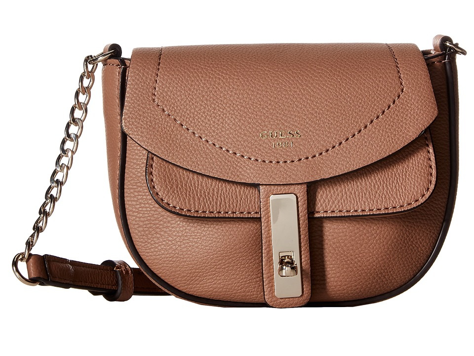 GUESS - Kingsley Petite Crossbody Flap (Latte) Cross Body Handbags