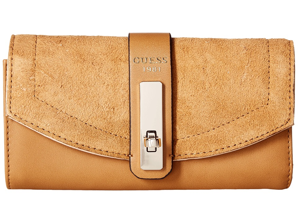 GUESS - Kingsley Slim Clutch (Cognac) Clutch Handbags