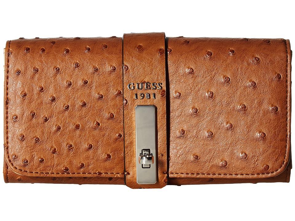 GUESS - Kingsley SLG Large Flap Organizer (Cognac) Handbags