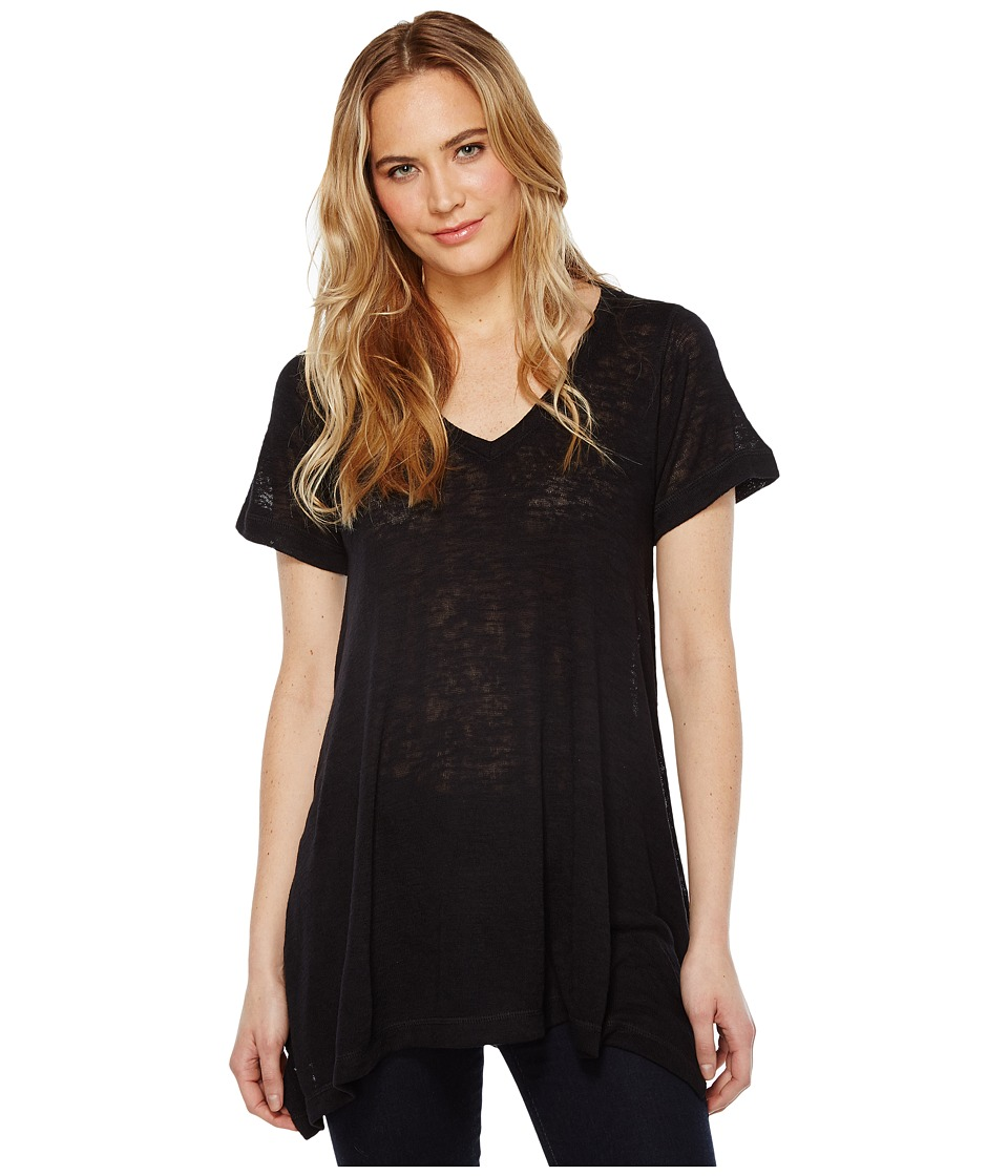 Nally & Millie Short Sleeve V-Neck Sharkbite Tunic (Black) Women's Short Sleeve Pullover