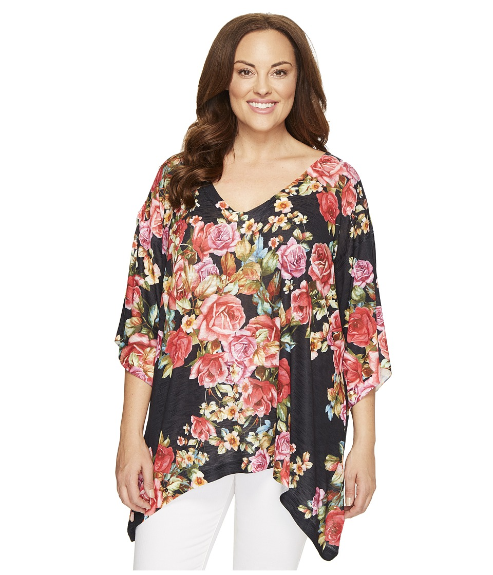 Nally & Millie - Plus Size Floral V-Neck Oversized Top (Multicolor) Women's Clothing