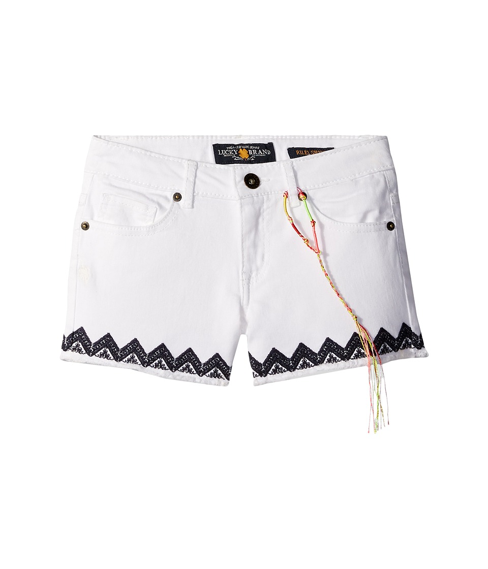 Lucky Brand Kids - Riley Stretch Denim Shorts with Embroidery (Big Kids) (Bright White) Girl's Shorts