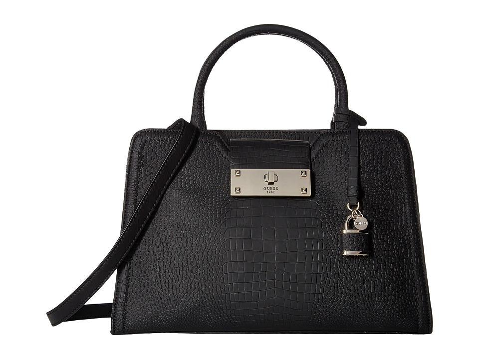 GUESS - Kyra Satchel (Black) Satchel Handbags